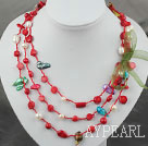 Wholesale Long Style Assorted Red Coral and Pearl Thread Necklace ( can also be bracelet )