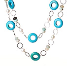 Long Style A Style 10mm Round Blue Agate Beaded Necklace with White Rhinestone Beads