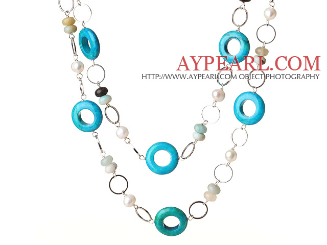 Beautiful Long Style Round White Pearl Blue Spider and Amazon Stone Necklace