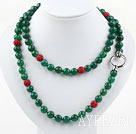 Long Style 10mm Round Green Agate Beaded Necklace with Red Rhinestone Beads