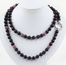 Wholesale Long Style 10mm Round Faceted Purple Agate Beaded Necklace with Purple Rhinestone Beads