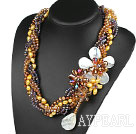 Wholesale Elegant and Big Style Brown Series Pearl Crystal and White Shell Flower Party Necklace