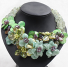 Wholesale Elegant and Big Style Serpentine Jade and Lemon Stone and Agate and Pearl Shell and Prehnite Flower Party Necklace