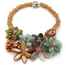 Wholesale Elegant and Big Style Brown Crystal and Agate and Serpentine Jade Flower Party Necklace