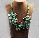 Elegant und Big Style Indian Achat und Aventurin und Abalone Shell Flower Party Halskette