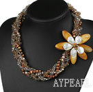 Multi Strands Brown Series Pearl Crystal og Shell Flower halskjede