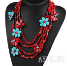 Multi Strands Red Series Red Coral og turkis Flower partiet halskjede