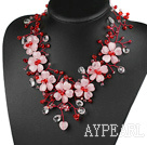 Wholesale Elegant and Big Style Pink Series Rose Quartz and Red and Clear Crystal Party Necklace
