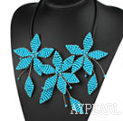Wholesale Elegant Style Blue Turquoise Leaf Shape Flower Party Necklace