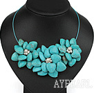 Wholesale White Freshwater Pearl and Turquoise Flower Party Necklace