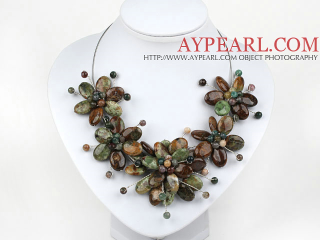 Indidan Agate and Green Opal Flower Necklace