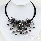 Wholesale Black Pearl and Black Crystal Flower Choker Necklace