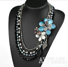 Big stil Multi Strands Black Pearl Crystal og Shell Flower partiet halskjede