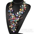 Elegant och Big Style Blandade Mulit Color Multi Pearl Shell Flower Party halsband