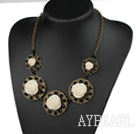 Wholesale Vintage Style Black Crystal and Acrylic Flower Necklace with Bronze Chain