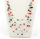 Mulit Layer Red and Black and Gray Crystal Necklace with Steel Wire