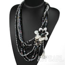 Big Style Multi Strands Black Series Black and Clear Crystal and White Shell Flower Party Necklace