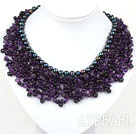 Elegant and Big Style Amethyst and Black Pearl Weaved Party Bib Necklace
