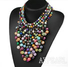 Multi Layer Assorted Multi Color Shell Beads Party Necklace