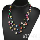 Multi Strands Assorted Multi Color Shell Beads Necklace