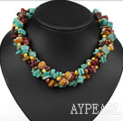 Multi brins Yellow Pearl et Amazon Stone et Silver Leaf Agate Collier