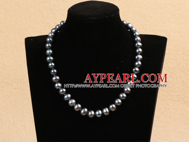 Best Mother Gift Graceful 10-11mm Natural Deep Gray Pearl Party Necklace
