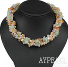 Multi Strands Violet Pearl og Citrin og Prehnite Necklace