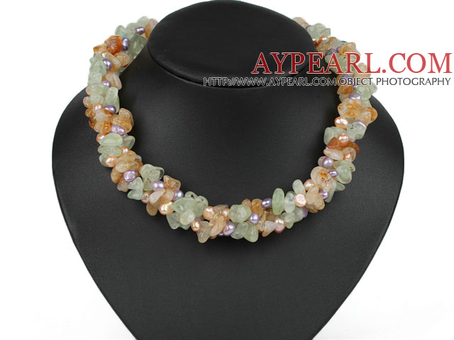 Multi Strands Violet Pearl and Citrine and Prehnite Necklace
