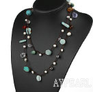 Wholesale Long Style Green Series Amazon Stone and Freshwater Pearl Crystal Necklace