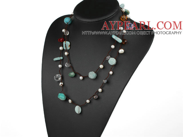 Long Style Green Series Amazon Stone and Freshwater Pearl Crystal Necklace