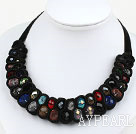 Fashion Style Multi Color Crystal and Black Velvet Ribbon Woven Bold Necklace