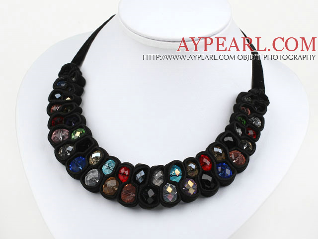 Fashion Style Multi Color Crystal and Black Velvet Ribbon Woven Bib Necklace