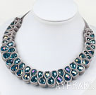 Fashion Style Lake Blue Crystal and Gray Velvet Ribbon Woven Bold Necklace