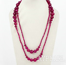 Long Style Faceted Round Rose Pink Agate Graduated Necklace ( No Clasp )