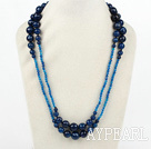 Long Style Faceted Round Blue Agate Graduated Necklace ( No Clasp )