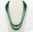 Wholesale Long Style Faceted Round Green Agate Graduataed Necklace ( No Clasp )