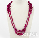 Wholesale Long Style Faceted Round Rose Pink Agate Graduataed Necklace ( No Clasp )