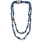 Long Style Assorted Multi Shape Faceted Blue Agate Necklace
