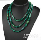 Long Style Assorted Multi Shape Faceted Green Agate Necklace
