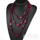 Long Style Assorted Multi Shape Faceted Rose Pink Agate Necklace