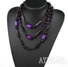 Wholesale Long Style Assorted Multi Shape Faceted Purple Agate Necklace