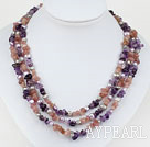 Wholesale Pink Purple Series Three Strands Pearl and Amethyst and Strawberry Quartz Necklace