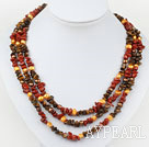 Red Series Three Strands Pearl and Tiger Eye and Red Jasper Necklace
