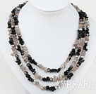 Wholesale Gray Black Series Three Strands Pearl and Black Gray Agate Necklace