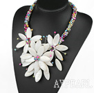 Elegant och Big Style Multi Color Pearl och White Shell blomma Party halsband
