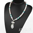 Wholesale Natural White Freshwater Pearl and Turquoise Necklace with Nautilus Pendant