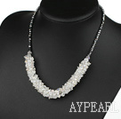 Wholesale Fashion Style Faceted Clear Crystal and Gray Black Crystal Necklace