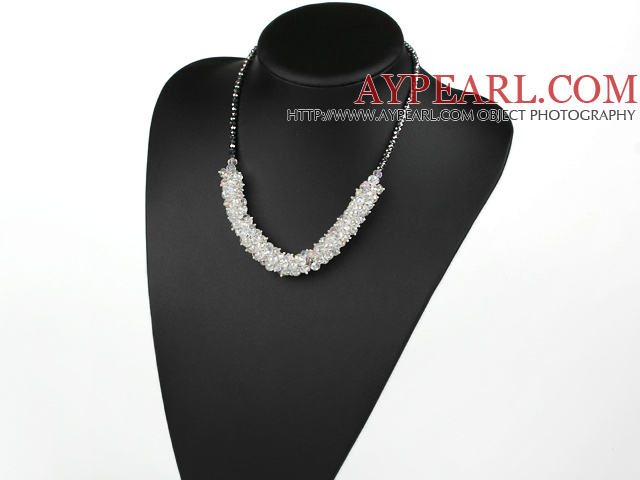 Fashion Style Faceted Clear Crystal and Gray Black Crystal Necklace