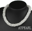 Bold Style Fashion Faceted Clear Crystal Necklace with Magnetic Clasp
