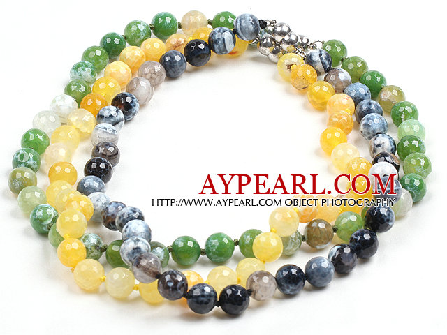 Simple Design Single Strand 10mm Fire Agate Beads Necklace(Random Color)